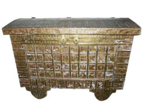 Antique Hope Chest on Wheels Brass Cladded Trunk Buffets India Pitara