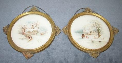 Pair of Winter Scene, Antique Flue Covers