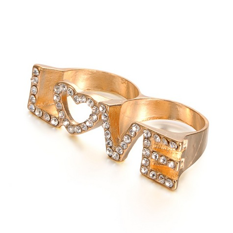 Golden Alloy Rhinestone Double Rings, LOVE  Ring. ONE SIZE FITS ALL!