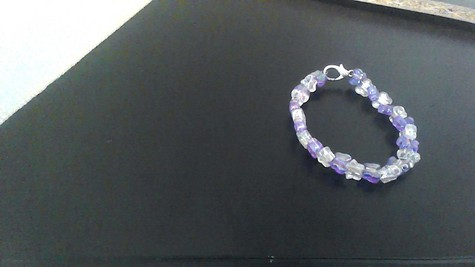 Purple Butterflies, Stars, White Butterflies, Stars,Transparent beads on a silver-plated wire, silver-plated big-clasp bracelet.