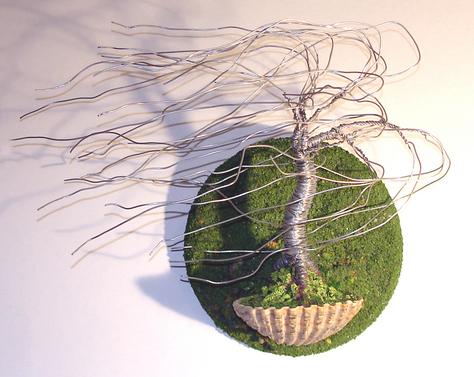 Wind Swept in Seashell Wall Art, Wire Tree Sculpture