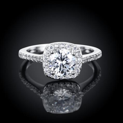 Lightweight & Comfortable!  Classic Square Brass Cubic Zirconia Ring, Nickle Free, Size 5 Only,  Platinum, 16mm