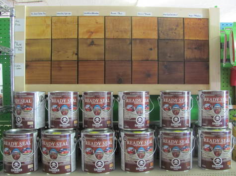 READY SEAL DECK AND FENCE STAIN 3.78 L TAXES EXTRA.  GOLDEN PINE,LIGHT OAK,NATURAL CEDAR,PECAN,REDWOOD,DARK WALNUT,MAHOGNAY.