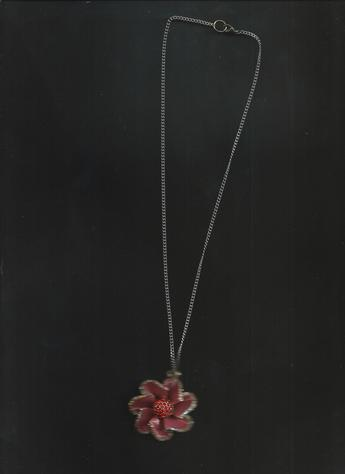 "pretty, elegant necklace is a Dark Coral Flower Pendant adorned with White & Coral Rhinestones on 14"" clasp necklace."