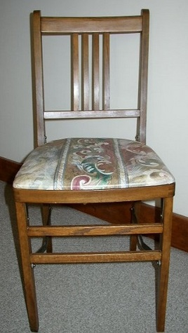 Antique, Cushioned, Fort Massac Locking/Folding Chair