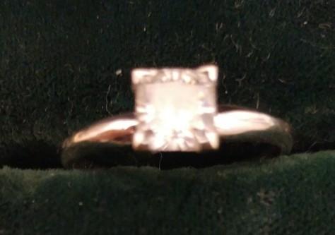 1 carat square cut diamond engagement ring. Size 9