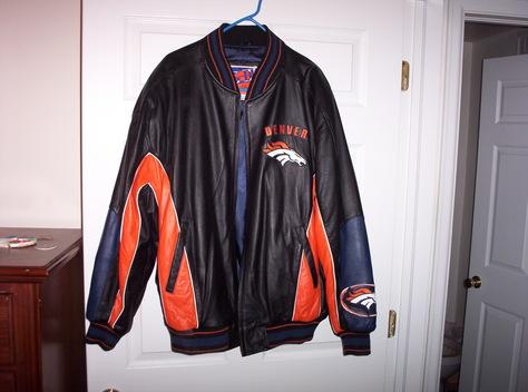Leather Broncos Jacket front