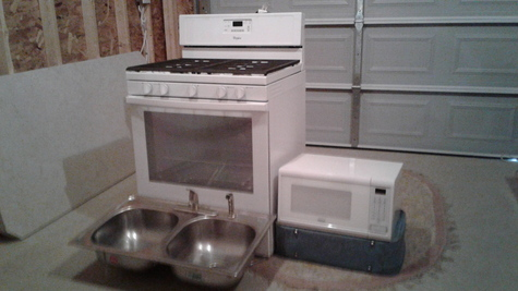 STOVE, MICROWAVE, SS SINK