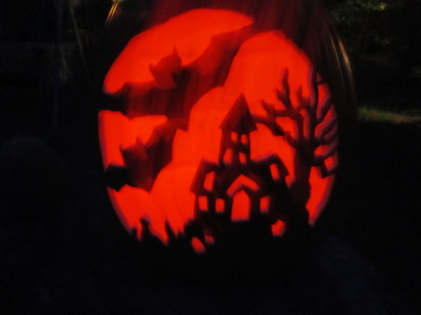 Haunted House pumpkin jack o lantern