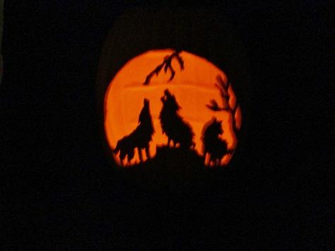 carved wolves jack o lantern