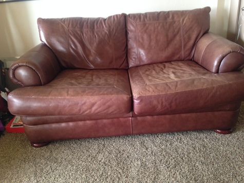 full view brown leather couch