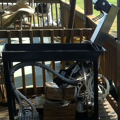 Three Flavor Soda Machine on a push cart.