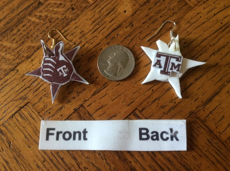 THUMBS UP & TEXAS  A&M  FISH HOOK STYLE