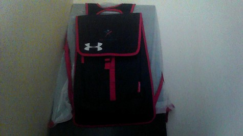 UNDER ARMOUR USA GYMNASTICS RED & BLUE BACKPACK.  NEW! NEVER USED!  (FRONT OF BACKPACK)
