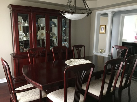 Dining room set - all wood, made in Canada  Dining room table, hitch and 8 chairs