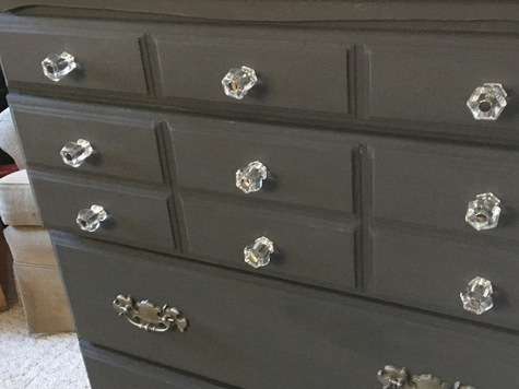 5 drawer charcoal grey, new hardware, clean, ready to use.  Solid wood.