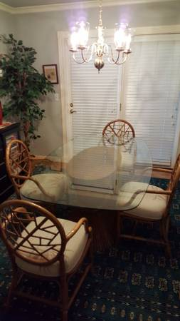 Glass dining set and chairs