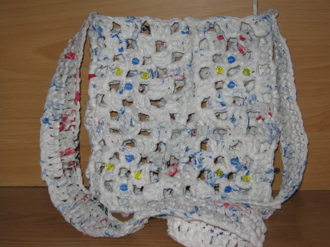 Hand Crocheted Plastic Bag Tote 5 yellow and blue