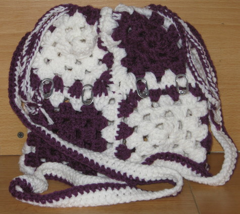 Over The Shoulder Pop Top Purse 3 purple and white