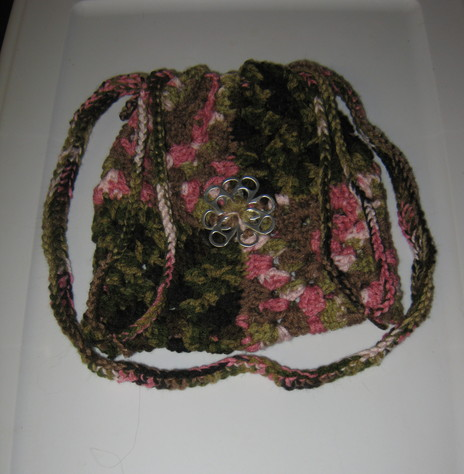 Pop Top Purse 2 green and pink camouflage
