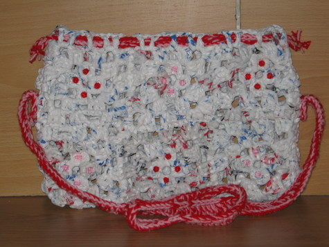 Hand Crocheted Plastic Bag Purse 1 red and pink