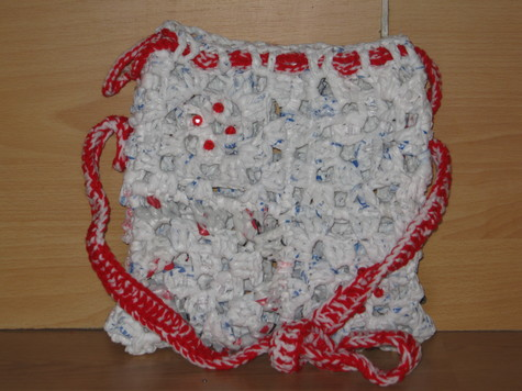 Hand Crocheted Plastic Bag Purse 2 red and clear