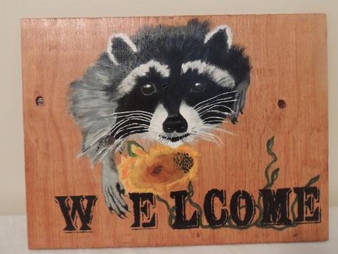 Raccoon Welcome door sign