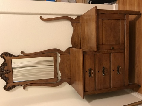 Refinished antique dresser/wash stand with mirror, drawers and cabinet