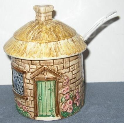 English Cottage Condiment Jar w/Ladle