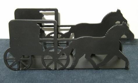 Black Metal Amish Cart with Horse - Napkin/Letter Holder