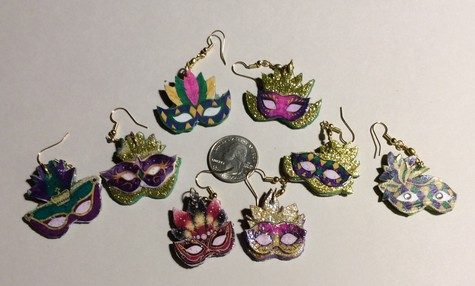 Unique Mardi Gras Earrings - Handmade