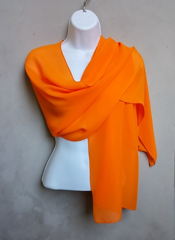 Orange Chiffon Scarf Wrap
