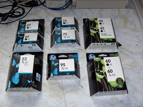 Assorted HP ink cartridges