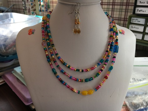 Three strand multi colored glass beads & matching earrings