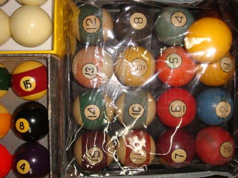 full set of old pool balls
