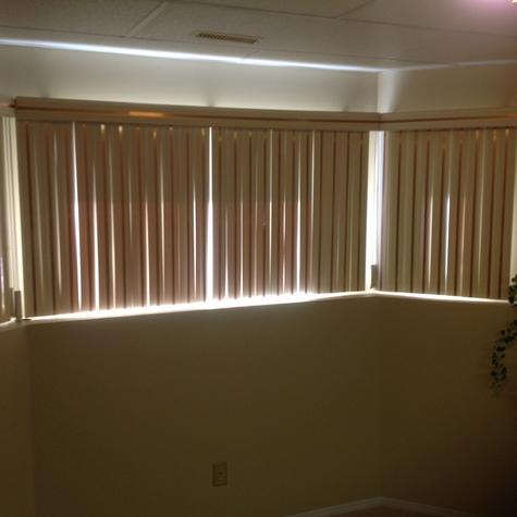 3 vertical room darkening bay window blinds with copper inserts