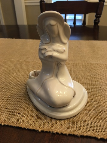 Frankoma pottery Mary and Baby Candle