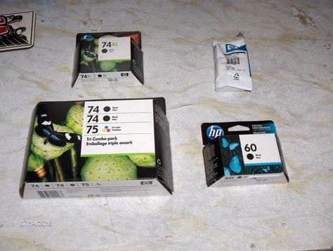 Assorted brand-new, unopened HP inks