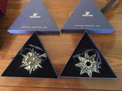 Swarovski Christmas Ornaments for 2002 and 2003
