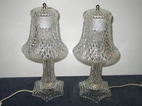 Vintage, Crystal/Glass Boudoir Lamps