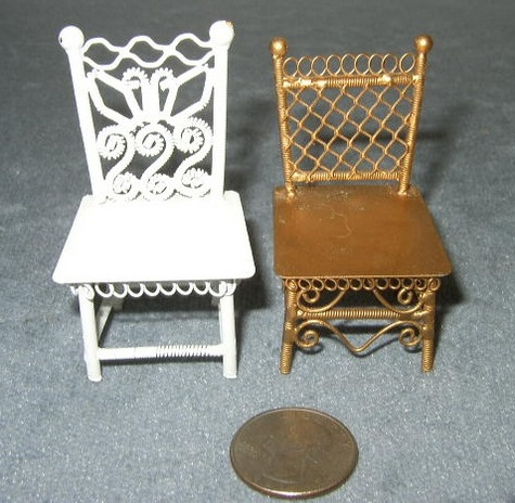 Decorative, White, Metal & Gold Metal Chairs