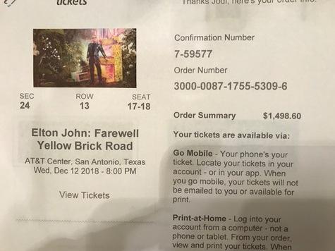 2 Each Elton John Concert Tickets