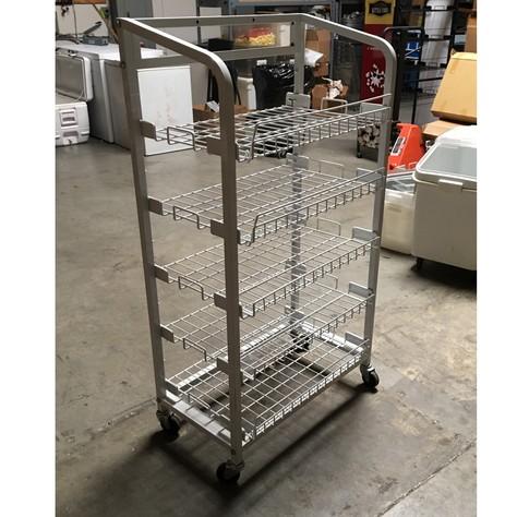 White 5 shelf rack on wheeles