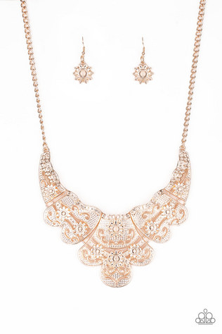 golden collar necklace with earrings