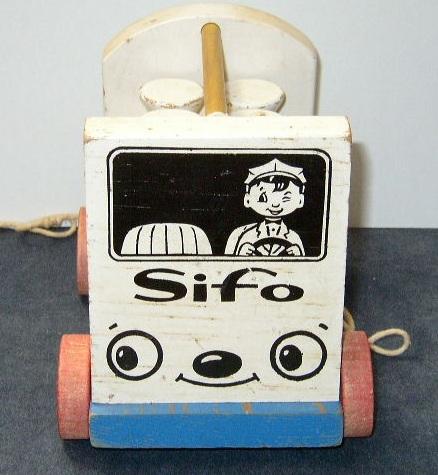 1954 SiFo Milk Wagon Pull Toy w/6 Milk Bottles