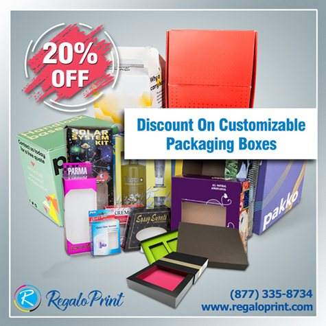 Grab amazing discount offers on Custom Packaging Boxes and Packaging Services by RegaloPrint