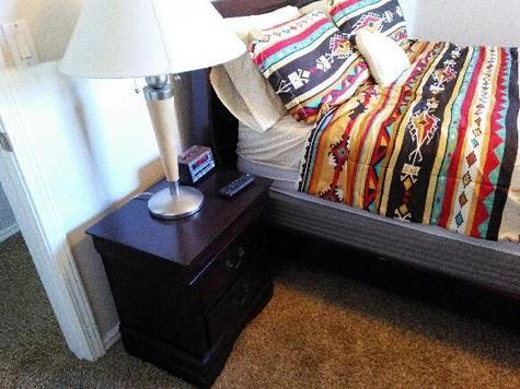 Nightstand and linens