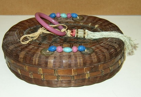 1930's Woven Sewing Basket