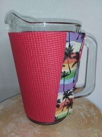 Dark Pink PitcherKoozy with Tropical trim