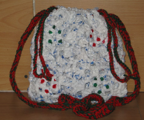 Hand Crocheted Plastic Bag Purse 2 red and green